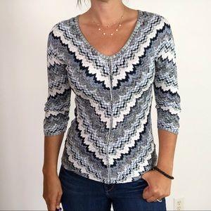 WHBM Blue Chevron Knitted V-Neck Pullover Sweater
